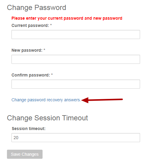 "Click on the ""Change password recovery answers"" link."