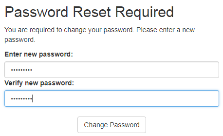 The system will require a password reset after logging in.