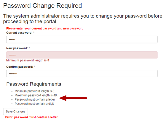 Password change is required